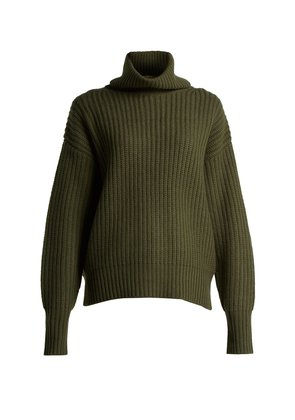 Pearl ribbed-knit wool sweater