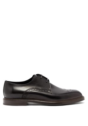 Wingtip leather derby shoes