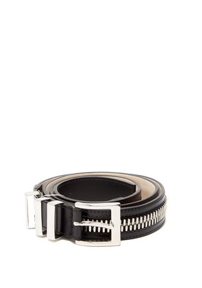 Zip-detailed leather belt