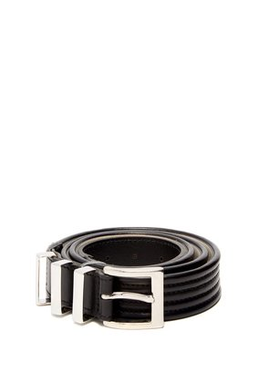 Triple-loop leather belt