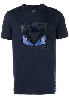 Fendi Crystal Embellished Monster T-Shirt - Blue