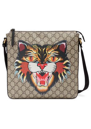 Gucci Angry Cat print GG Supreme flat messenger - Nude & Neutrals