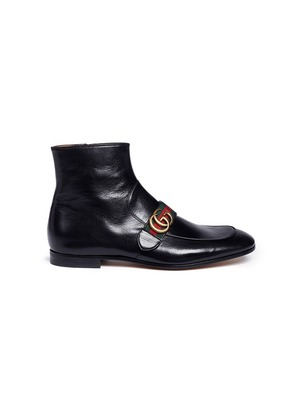 GG logo leather boots