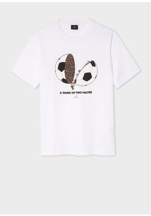 Men's White 'A Game Of Two Halves' Print T-Shirt