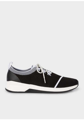 Men's Black and White 'Mantis' Knitted Trainers