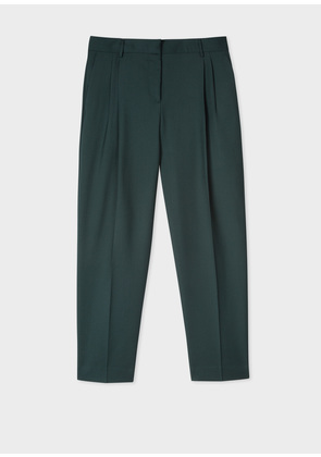 A Suit To Travel In - Women's Tailored-Fit Dark Green Wool Double-Pleat Trousers