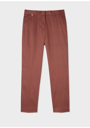 Women's Slim-Fit Rust And Black Check Stretch-Cotton Trousers
