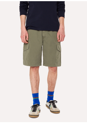 Men's Washed Green Cotton-Linen Cargo Shorts