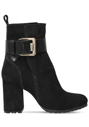 85MM SQUARE BUCKLE SUEDE ANKLE BOOTS