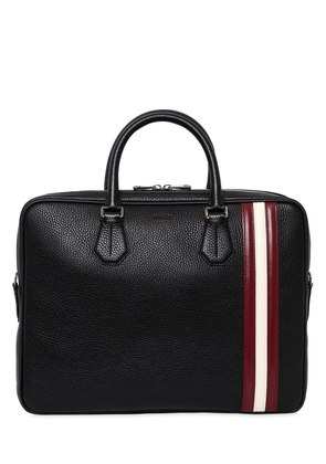 STRIPED PEBBLED LEATHER BRIEFCASE