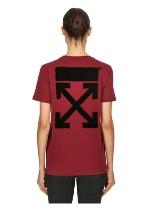 ARROW FLOCKED COTTON JERSEY T-SHIRT