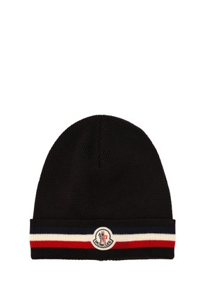 STRIPED WOOL KNIT BEANIE HAT