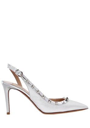 85MM ROCKSTUD METALLIC LEATHER PUMPS