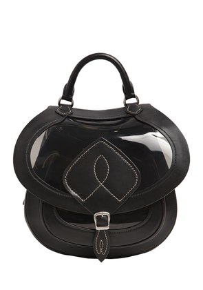 MEDIUM SHEER PVC & LEATHER SADDLE BAG