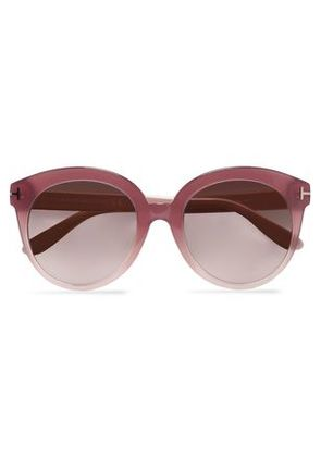 Tom Ford Woman Cat-eye Acetate And Silver-tone Sunglasses Crimson Size Tom Ford dOAlNcA2h