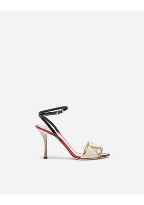 Dolce & Gabbana Sandals and Wedges - SANDAL TRIMMED IN PATENT LEATHER AND AYERS SNAKESKIN MULTICOLOR