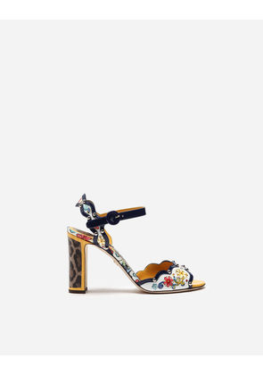Dolce & Gabbana Sandals and Wedges - PRINTED PATENT LEATHER SANDAL MULTICOLOR