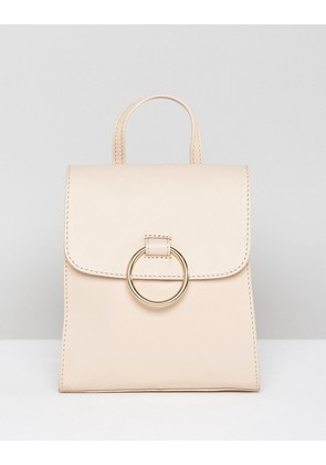 ASOS DESIGN leather mini backpack with ring - Cream