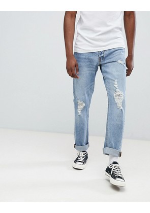 Jack & Jones Jeans In Slim Fit With Distressing - Blue denim