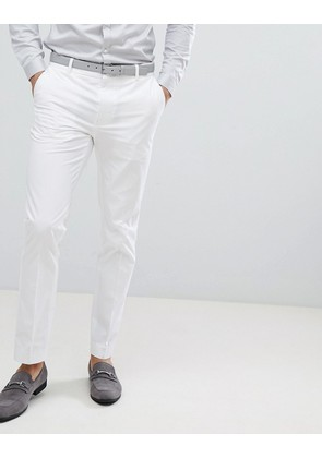 ASOS Wedding Skinny Suit Trousers In White Stretch Cotton - White