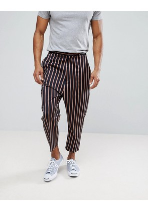 ASOS Drop Crotch Tapered Smart Trousers In Navy With Bold Stripe - Navy