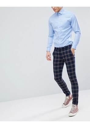 ASOS DESIGN Wedding Super Skinny Suit Trousers In Navy Waffle Check - Navy