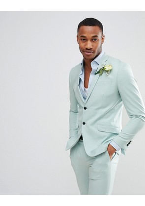 Jack & Jones Premium Skinny Suit Jacket in Dusty Green - Blue haze