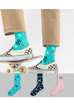ASOS Socks With Dollar Bill Design 3 Pack - Multi