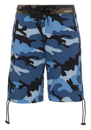 Valentino camouflage print cotton blend shorts - Blue