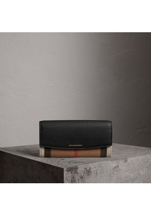 Burberry House Check And Leather Continental Wallet, Black