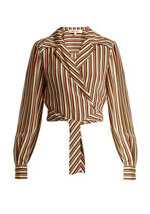 Paxton striped silk cropped blouse
