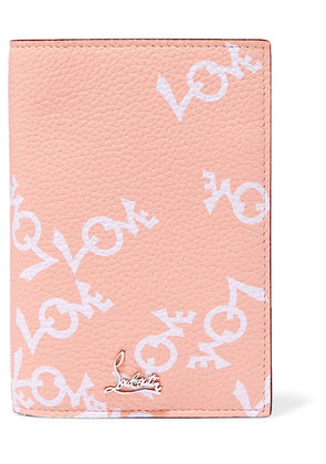 Christian Louboutin - Loubipass Printed Textured-leather Passport Cover - Antique rose