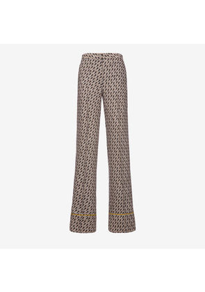 Bally Birds Printed Pyjama Trousers Grey, Women's wool and silk trousers in multi-grey