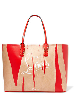 Christian Louboutin - Cabata Kraft Studded Printed Leather Tote - Red