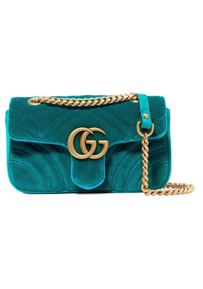 Gucci - Gg Marmont Mini Quilted Velvet Shoulder Bag - Blue