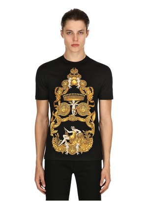 BAROQUE PRINTED COTTON JERSEY T-SHIRT