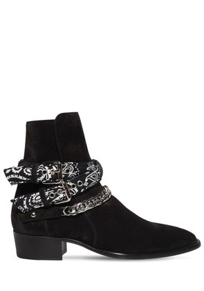 40MM SUEDE BANDANA BUCKLE ANKLE BOOTS