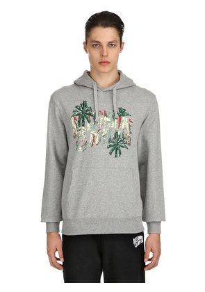 HOODED PALM LOGO COTTON SWEATSHIRT