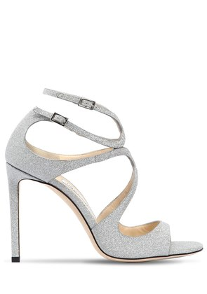 100MM LANG GLITTERED LEATHER SANDALS
