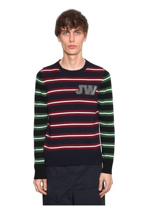 LOGO PATCH STRIPED WOOL SWEATER