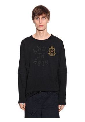LOGO PATCH SWEATSHIRT W/ LAYERED SLEEVES