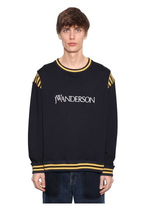 LOGO COTTON SWEATSHIRT W/ KNIT STRIPES