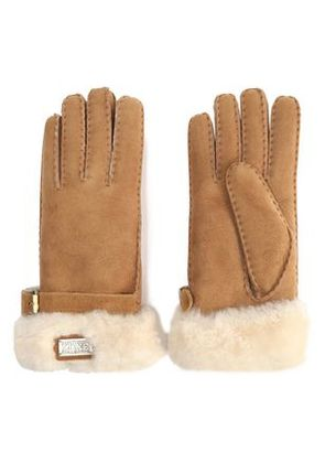 Australia Luxe Collective Woman Buckled Shearling Gloves Camel Size L