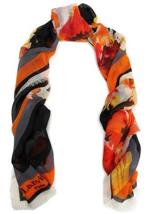 Lanvin Woman Frayed Printed Cashmere Scarf Orange Size -