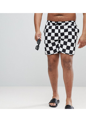 ASOS PLUS Swim Shorts In Checkerboard Print Mid Length - Black