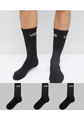 Vans 3 Pack Crew Socks In Black VXSEBLK - Black