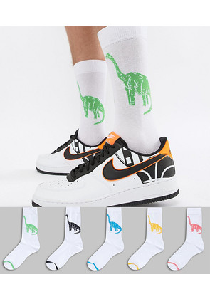 ASOS DESIGN Socks With Dinosaur Design 5 Pack - Multi