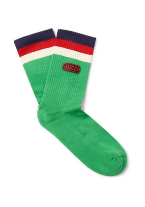 Appliquéd Striped Stretch Cotton-blend Socks