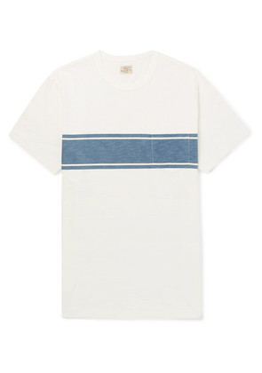 Slim-fit Indigo-dyed Striped Slub Cotton-jersey T-shirt