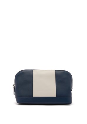 Striped leather wash bag